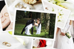 pile of wedding photos